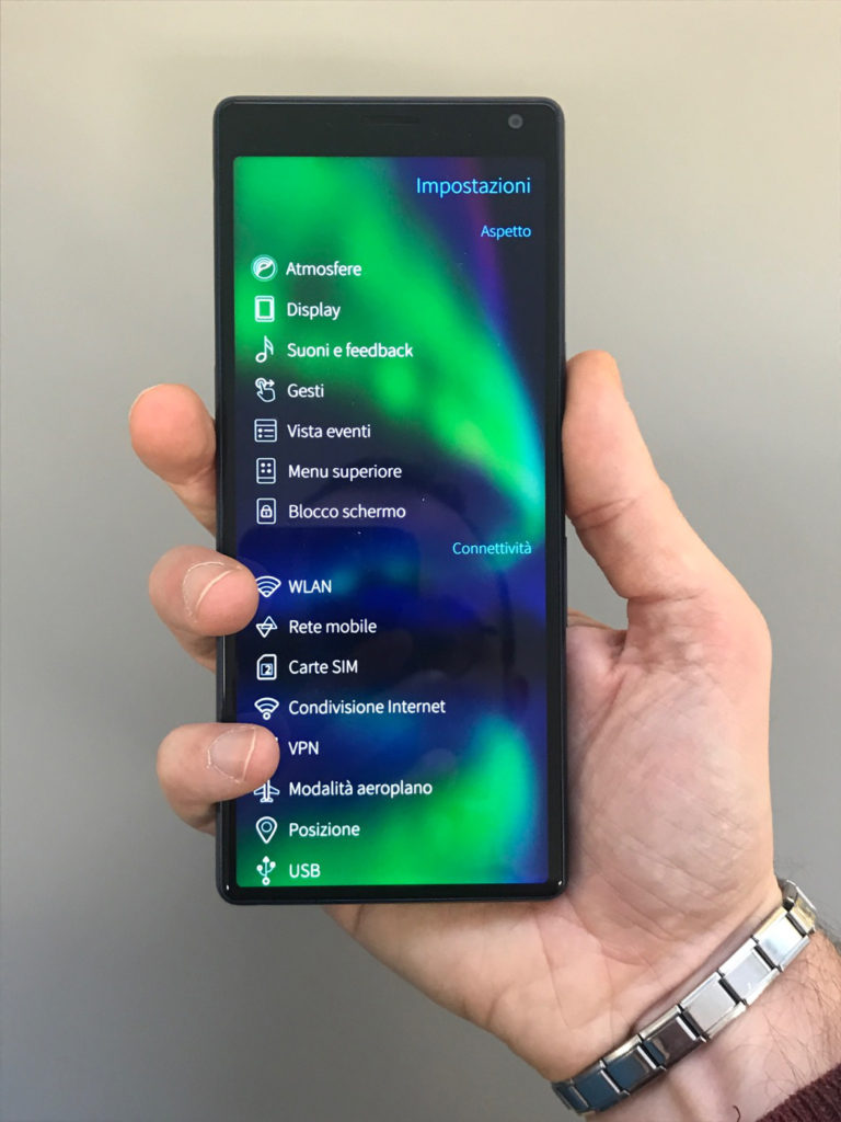 Xperia 10 in the hand, front